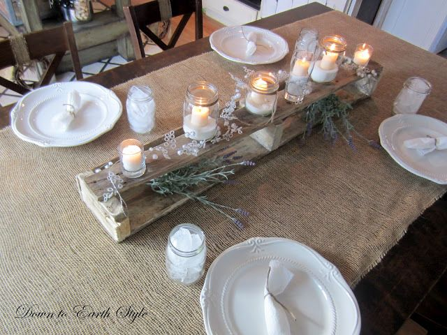love the pallet, recycled glass candes, burlap and twine napkin ties
