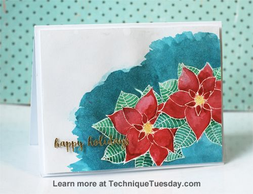 handmade Christmas card ... poinsettias ... emboss resist with watercoloring ... luv the rich colors ... Technique Tuesday ...