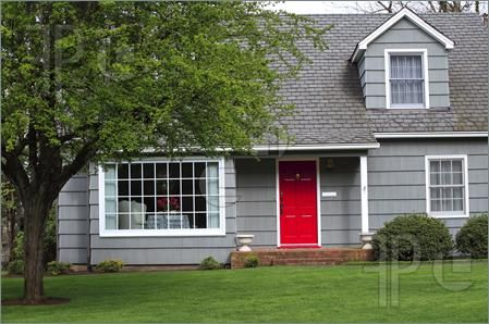 Red Door Grey House gray house, white trim, red door | house exterior | pinterest