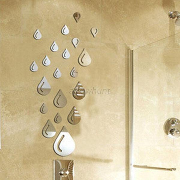 Silver Raindrop Mirror Acrylic Wall Stickers Bathroom 3D DIY Home Deco Decal A82 #Unbranded #Modern