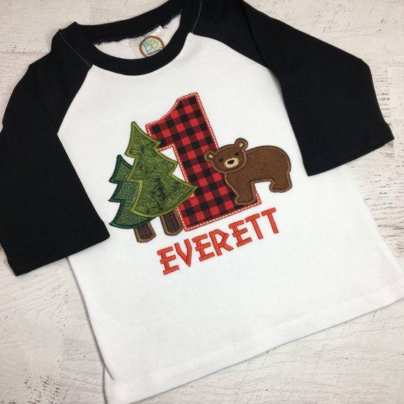 Kids Boys/&girls Buffalo Plaid Moose Lumberjack Red Black 3//4 Sleeve Raglan Tee Shirt For 2-6T