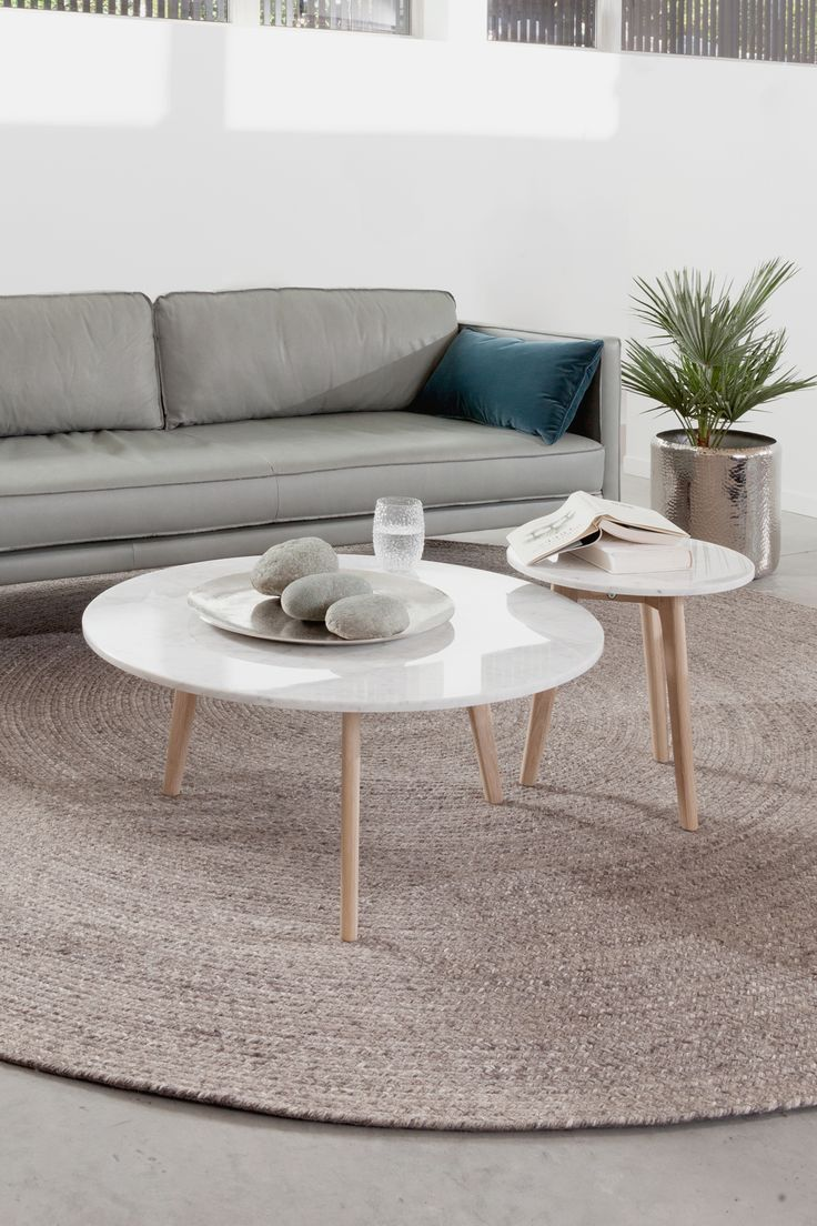 Round Marble Coffee Table Solid Oak Legs Article Mara Modern