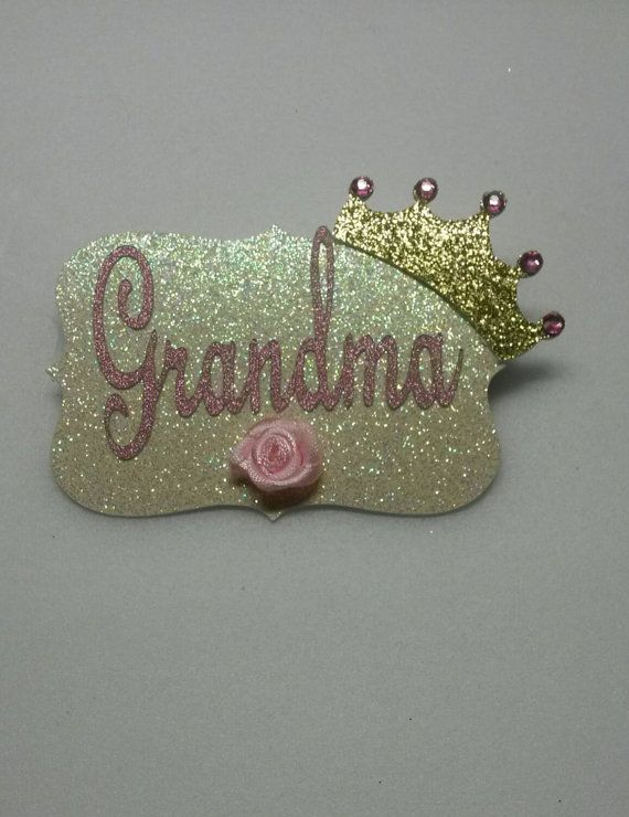 Grandma pin pink gold grandma corsage elegant princess tiara crown royal baby shower theme