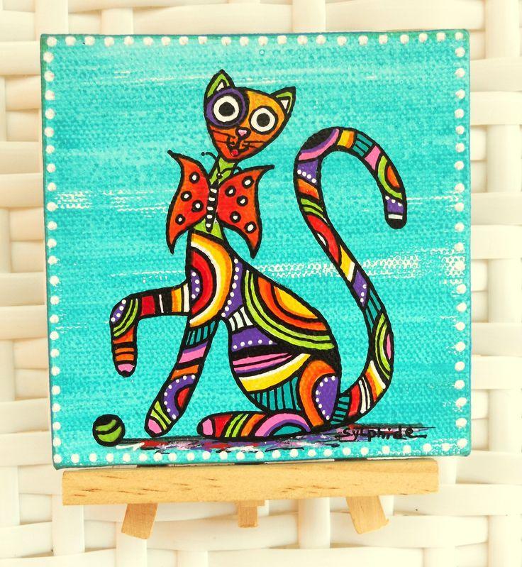 """Mini tableau du chat """"Papillon"""" sur chevalet : Décorations murales par sylphide"""