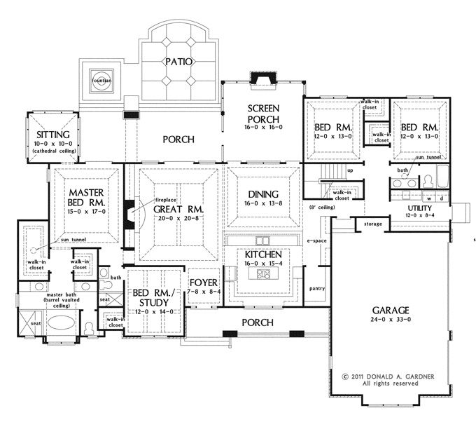 Large one story house plan big kitchen with walk in for House plans with large front and back porches