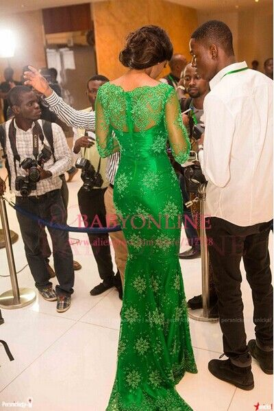 Miss Nigeria Red Carpet Dress Mermaid Green Lace Celebrity Inspired Long Sleeves Evening Prom Dresses