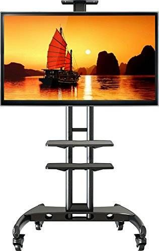 nice North Bayou Universal Mobile TV Cart TV Stand with Mount for LED LCD Plasma Flat Panel Screens and Displays 32'' to 65 inch up to 100 lbs Steel Black with 2 Shelves (AVA1500-60-1P plus Extra Shelf)