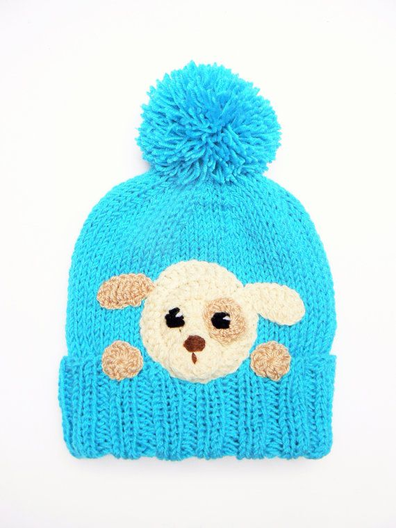 Kids Puppy Hat Knit Boys Girls Hat with Puppy Blue Winter by 2mice