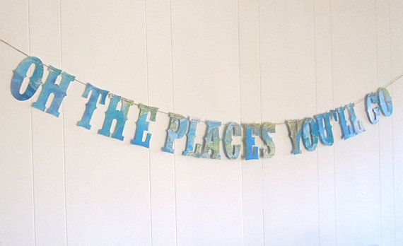 Travel Theme Nursery, Map Banner,Oh The Places You'll Go, Map Theme, Dr. Seuss, Photo Backdrop, Around the World, Graduation Banner