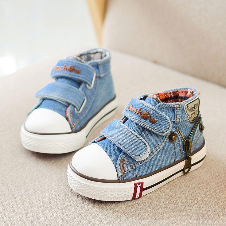 Nouvelle 2017 Printemps Toile Enfants Chaussures Garçons Espadrilles Marque Enfants Chaussures pour Filles Jeans Denim Plat Bottes Bébé Enfant En Bas Âge Chaussures