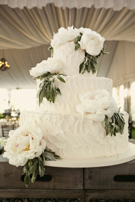 Ivory Buttercream Wedding Cake with Ivory Peonies & Sugared Leaves