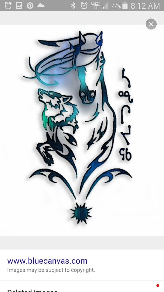 Tribal horse and wolf