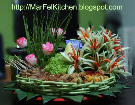 MarFel's Kitchen: Nasi Tumpeng - Cone Shaped Yellow Rice surrounded with Assorted Dishes