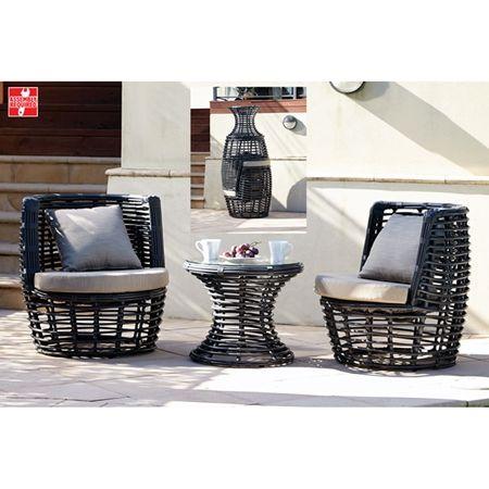 Monroe 3pc Outdoor Set Charcoal/Beige