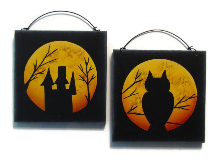 Halloween Moon Silhouette, Owl, Haunted House, Handpainted Wood Wall Hanging, Hand Painted Home Decor Wall Art, Tole Decorative Painting by ToleTreasures on Etsy