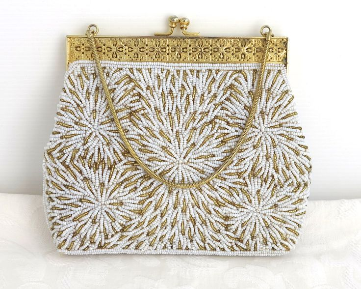 Vintage beaded bag, hand beaded gold and white pearl beads in floral pattern, gold metal filigree frame, rhinestone kiss lock, circa 1960s by CardCurios on Etsy