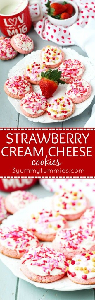 These easy, cake mix Strawberry Cream Cheese cookies are so soft and topped with homemade cream cheese frosting for festive Valentine's Day treat!