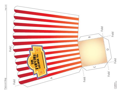 Free Printable Foldable Popcorn Holder for Family Movie Night