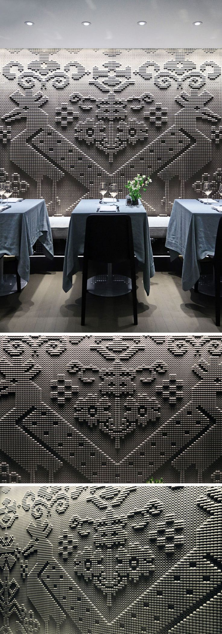 #wall #decor Wall Decor Ideas - A chiseled natural stone tapestry covers the wall of this modern restaurant. - The inspiration of the stone tapestries comes from Sardinian fabrics
