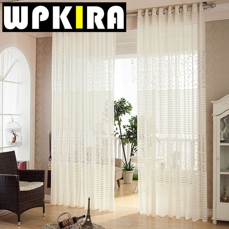 Solid White Sheer Transparent Voile Horizontal Stripe Jacquard Hollow Polyester Curtains For Living Room Cortina Persiana 30 #Affiliate