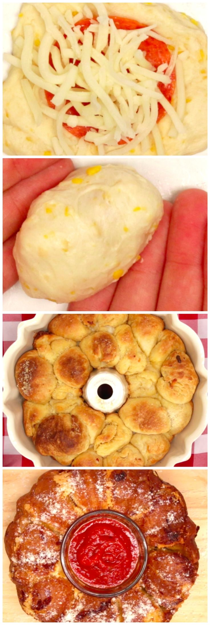 Pizza Monkey Bread:  2 tubes Grands Biscuits, package of pepperoni, package of shredded mozzarella, stick of butter, melted w/garlic to taste, parm. 375 for 25 to 30 min or until done.