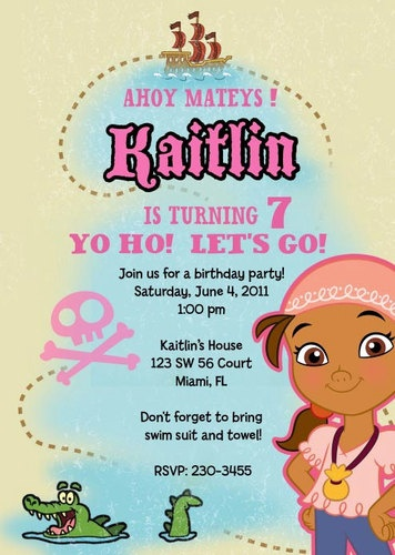 Jake and Neverland Pirates birthday invitation for girls