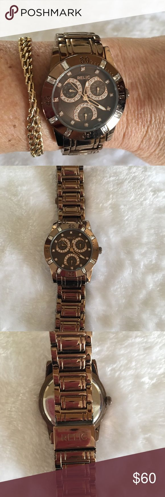 Relic Watch Beautiful chocolate gold with crystal accents. Selling because I wear my Apple Watch daily. Excellent working condition.  A real beauty. Relic Accessories Watches