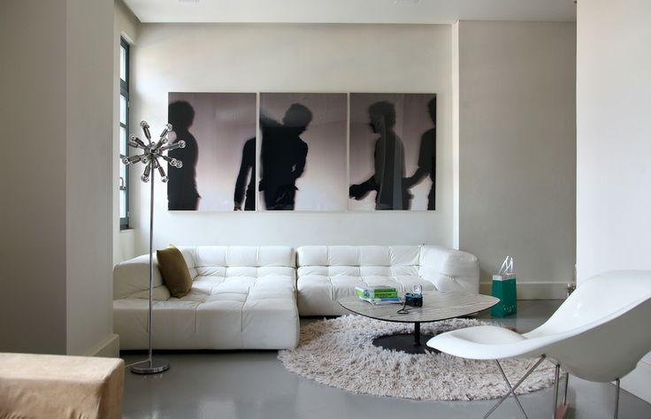 Loft in Athens, white, minimal, design, art, Eames chair