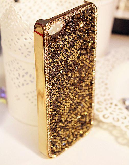 iPhone 6, 6 Plus - Dazzling Rhinestone Gem Cuts in Gold Frame Case in Assorted Colors