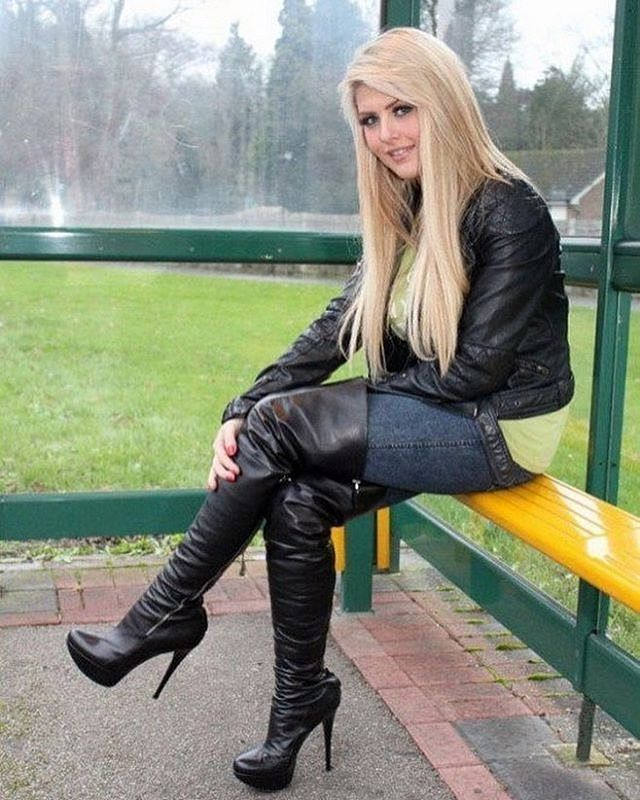 Blonde in black leather thigh boots leather jacket and jeans #blackhighheelsoutfit