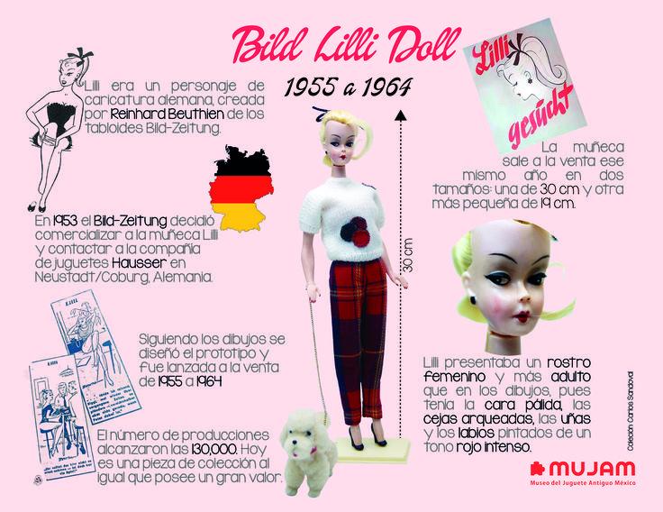 Bild Lilli Doll   Lilli era un personaje de caricatura creada por Reinhard Beuthien, posterior a los diseños realizado, el prototipo sale a la venta  de 1955 a 1964.   El número de producciones alcanzaron las 130'000 piezas. Hoy es una pieza de colección al igual que posee un gran valor.     Lilli presentaba un rostro femenino y más adulto que en los dibujos. pues tenía la cara pálida, las cejas arqueadas, las uñas y labios pintados un tono rojo intenso