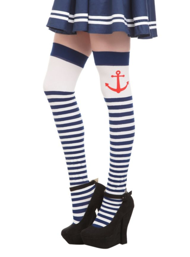 White+thigh+highs+with+blue+stripes+and+red+anchors.