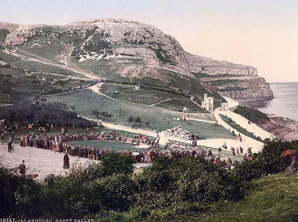 Happy Valley, Llandudno, Wales. This color photochrome print was created between 1890 and 1900 in Llandudno, Wales.