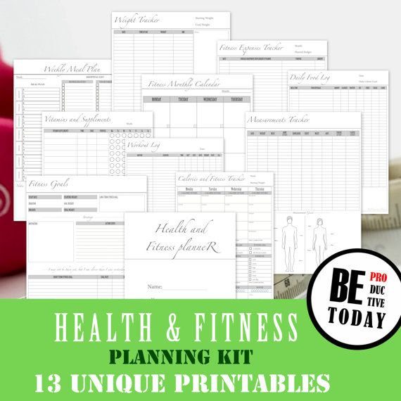Fitness Planner Bundle, Health and Fitness Journal, Food Diary, Workout Log, Calorie Tracker, Weight Loss Tracker, A4/A5/Letter Size, PDF