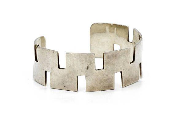 Geometric Cuff Minimalist Cuff 925 Silver Cuff Bracelet