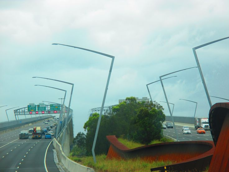 On the highway and pass by Brisbane in Queensland