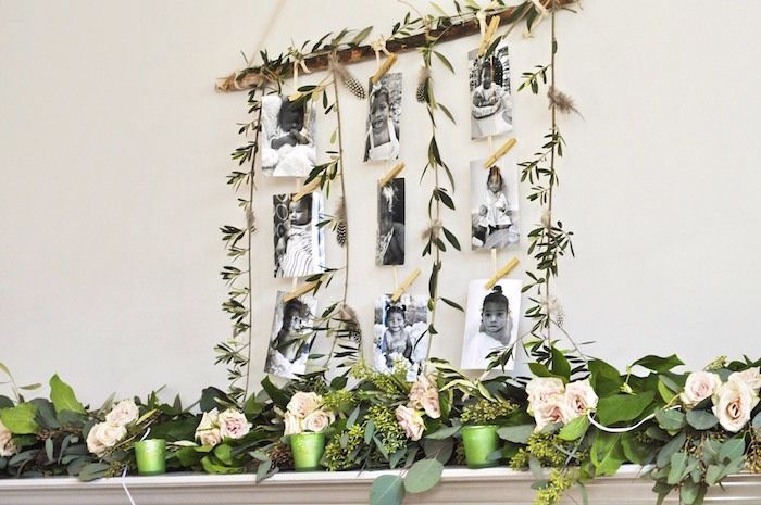 """Greenery garland photo banner from a Minnie Mouse Inspired """"Wild One"""" Birthday Party on Kara's Party Ideas 