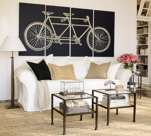 Tandem Bicycle Stretched Canvas, Set of 4 | Pottery Barn #WallDecor