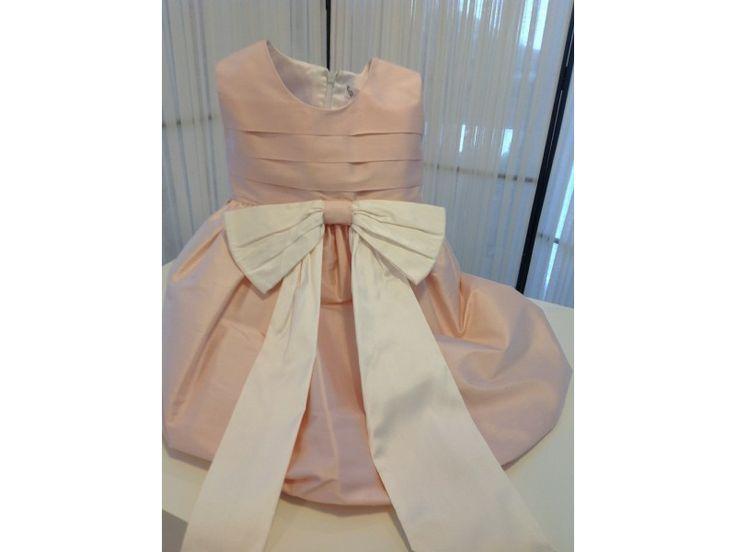 Βαπτιστικό φόρεμα ροζ με λευκό φιόγκο