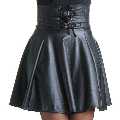 Cinturón Gótico Hebillas black high waisted double buckled leather skater skirt