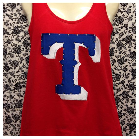 Hey, I found this really awesome Etsy listing at https://www.etsy.com/listing/184983039/texas-rangers-bling-razorback-tank-top