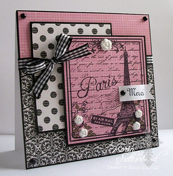 paris card - i am in love with Black, White and pink lately!!  So feminine.  So lovely.