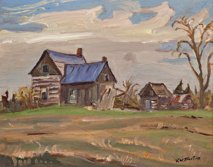 Ralph Wallace Burton - Old Farm House 10.5 x 13.25 Oil on panel