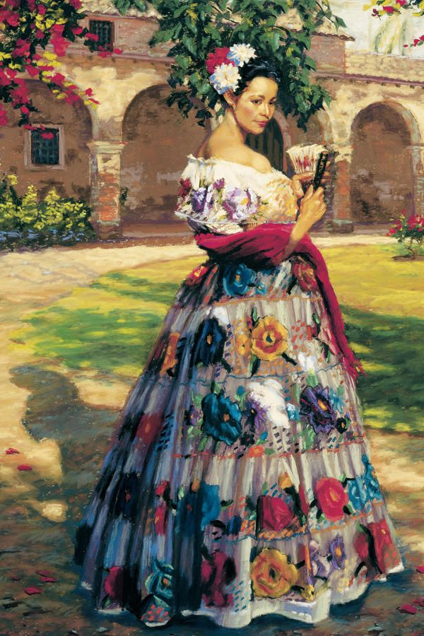 """""""Al Aire Libre"""" by Jean Hildebrant; beautiful painting of a woman in a traditional Mexican dress"""