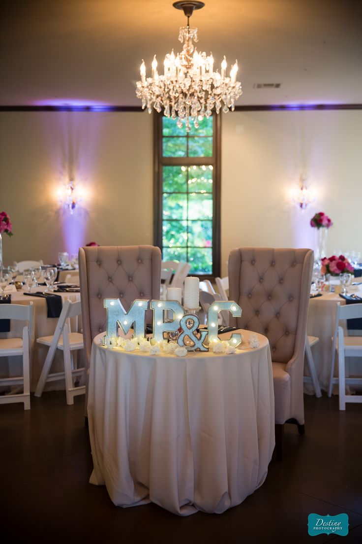This sweetheart table is swoon worthy. The tufted chairs look amazing under  our stunning chandelier