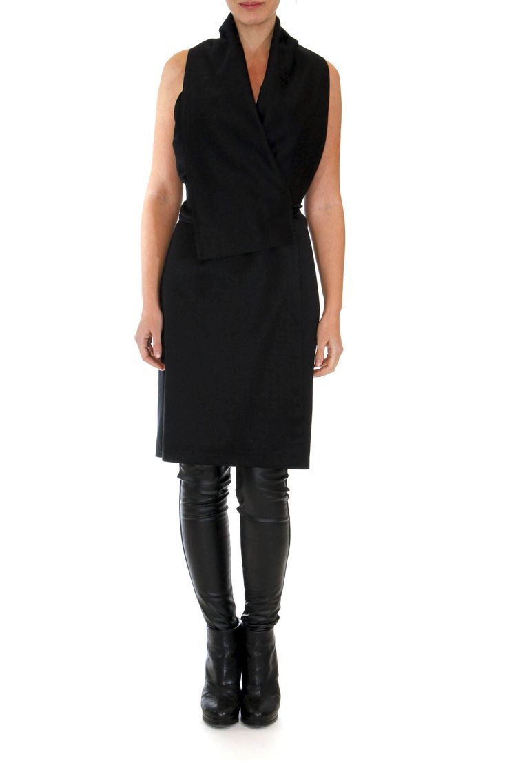 Sleeveless wrap over dress Chinese style neckline and a matching belt Easily transformed to a long vest for more casual style by gaffer&fluf #dress #gaffer&fluf #greek4chic