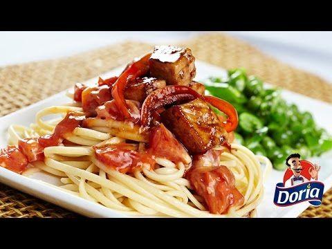 Spaghetti Doria con cerdo y verduras