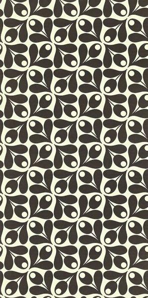 Retrotapet i svartvitt från kollektionen Orla Kiely 110415. Klicka för att se fler inspirerande tapeter för ditt hem!