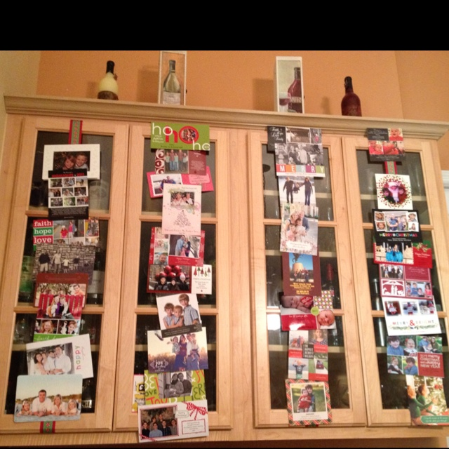 One Of My Favorite Pinterest Ideas For Displaying Christmas Cards. Just Run  Ribbon Down The