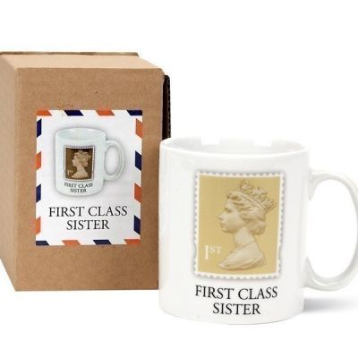 £10.99 If your sister is first class then remind her every time she has her coffee   The Personalised Gift Shop